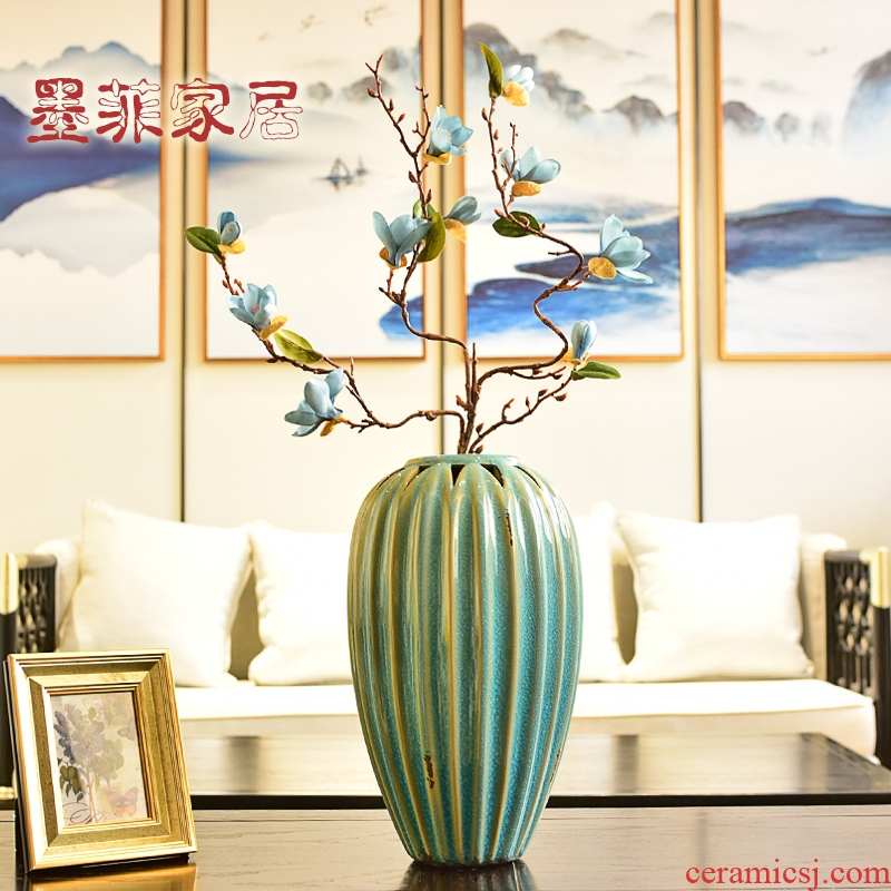 New Chinese style restoring ancient ways is hollow out Angle of several TV ark, ceramic vases, the sitting room porch decoration flower arranging furnishing articles household act the role ofing is tasted