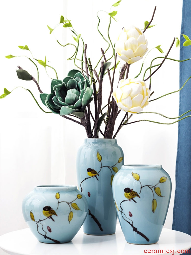 Modern Chinese style furnishing articles contracted land sitting room creative fashion home decoration ceramic three - piece vases, flower art