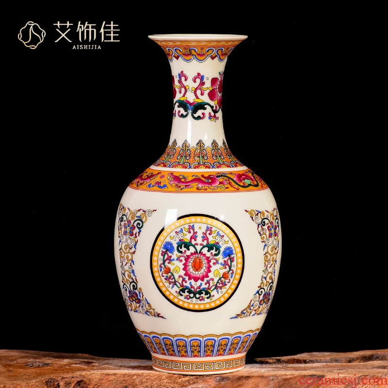 Jingdezhen ceramic colored enamel vase flower arranging TV ark, Chinese style restoring ancient ways to live in the sitting room porch place ornament