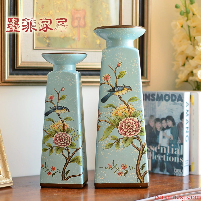 American ceramic candlestick furnishing articles of TV ark, decoration of Chinese style household table porch decoration wine accessories