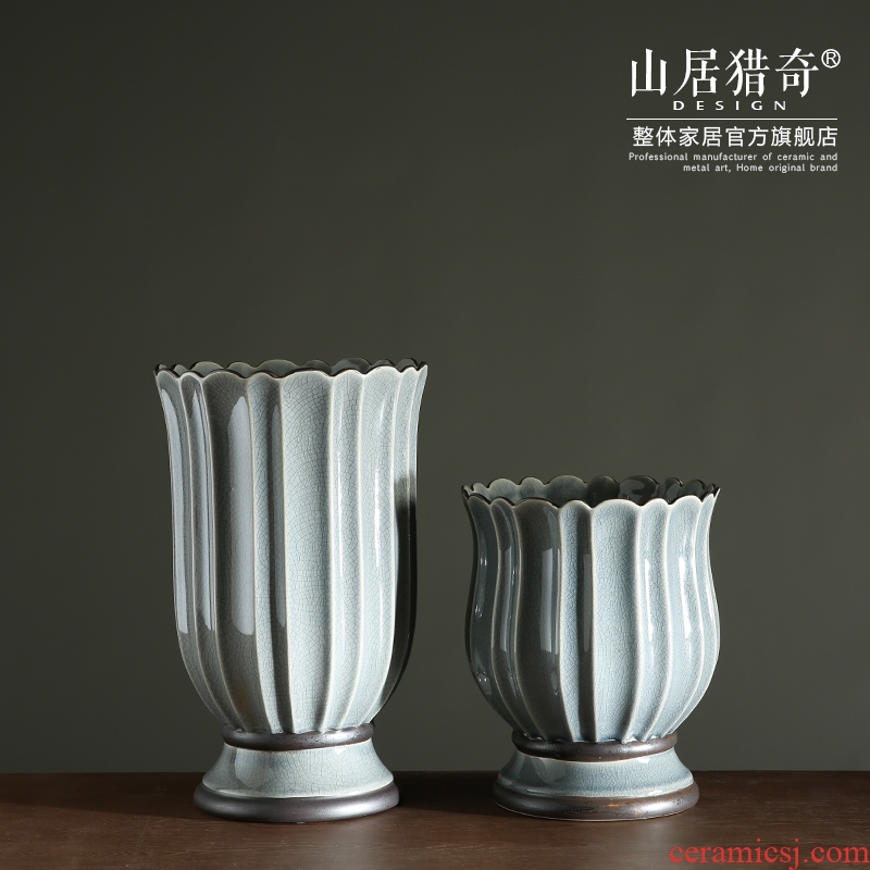 Ceramic table dry flower vase example room home decoration vase furnishing articles sitting room lace flower implement porcelain bottle arranging flowers