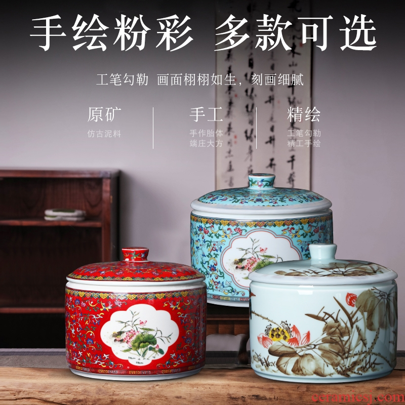 Jingdezhen hand - made ceramics home 10 jins with cover insect - resistant seal barrel tea pot store content of dried fruit