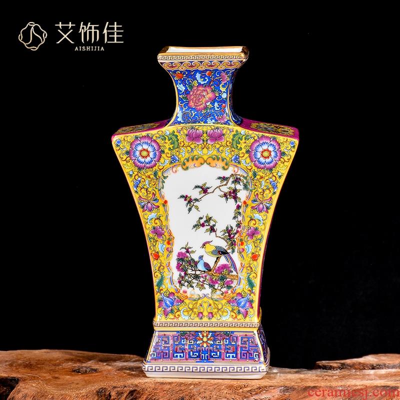 Jingdezhen ceramics colored enamel antique vases, flower arranging rich ancient frame TV ark, sitting room adornment collection furnishing articles