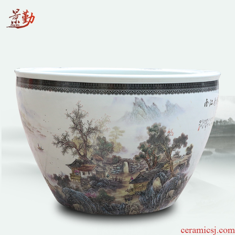 Jingdezhen ceramics from pastel landscape characters daikin aquarium water shallow tortoise cylinder water lily refers to basin of lotus furnishing articles
