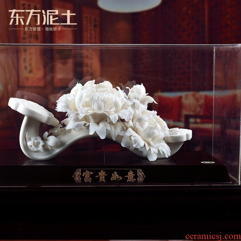 Oriental soil dehua white porcelain its art of Chinese style hand knead peony decorative furnishing articles/prosperous fortunes