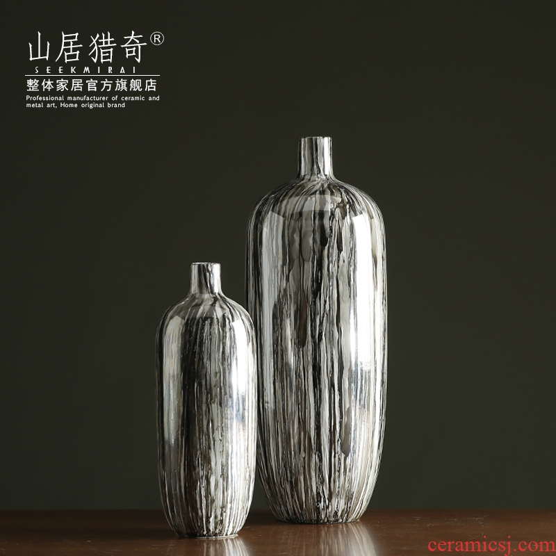 New Chinese style ceramic vase furnishing articles grey wood high model of pottery vase sitting room porch small expressions using flower arranging flowers