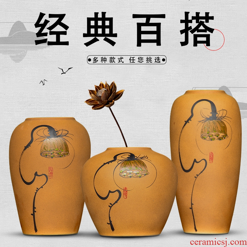 Jingdezhen ceramic vases, flower arranging dried flower of new Chinese style living room TV cabinet porch ark, home furnishing articles