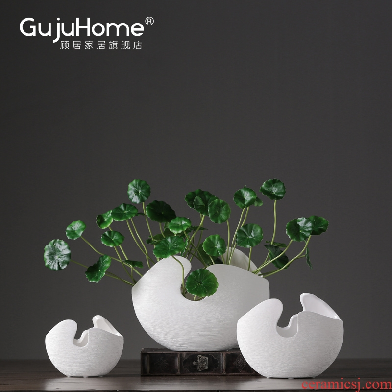I and contracted white ceramic flower vases furnishing articles creative restaurant porch dried flower flower adornment ornament
