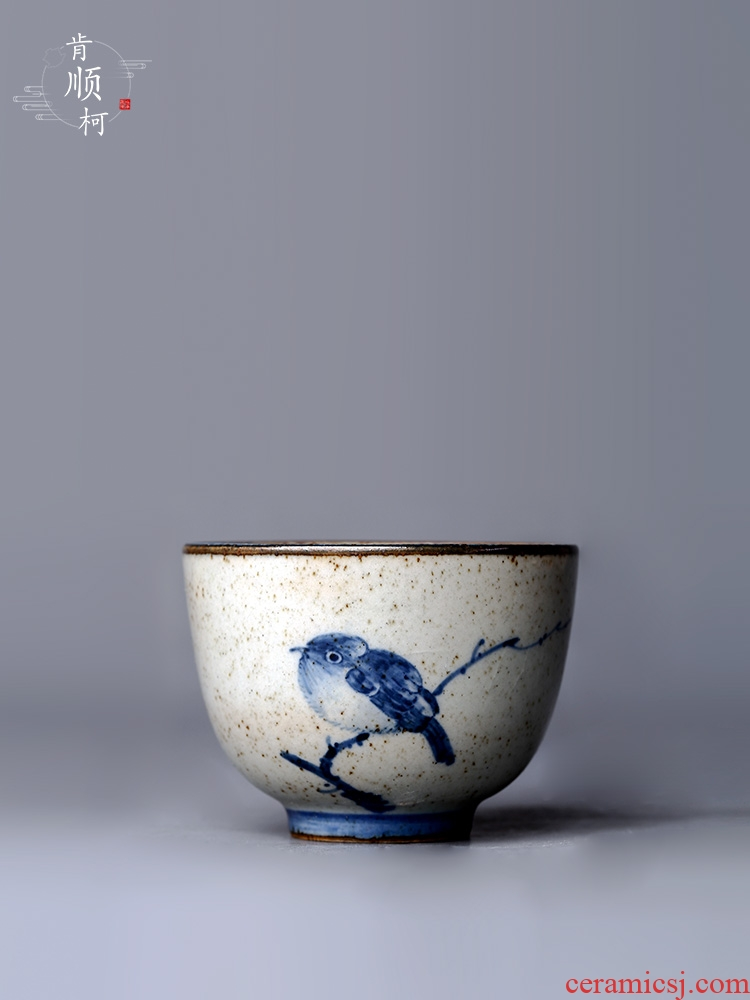 Blue and white porcelain of jingdezhen hand - made bird kunfu tea cup single special cup personal master cup sample tea cup tea set