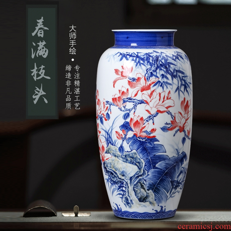 "Sheng hao works hand - made flowers and birds ceramics jingdezhen ceramics vase Xiong Bo masters ""spring branches"" furnishing articles"