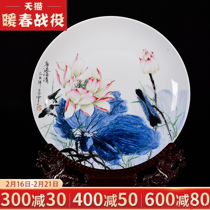 Jingdezhen chinaware lotus hand - made decorative plate of the new Chinese style living room white porcelain sat dish furnishing articles rich ancient frame handicraft