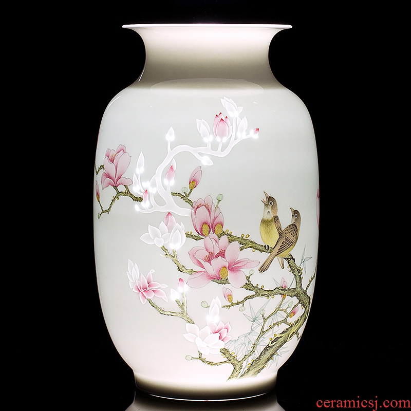 Jingdezhen ceramics vase furnishing articles CV 18 flower arranging device offerings and sitting room adornment furnishing articles of the new Chinese style household