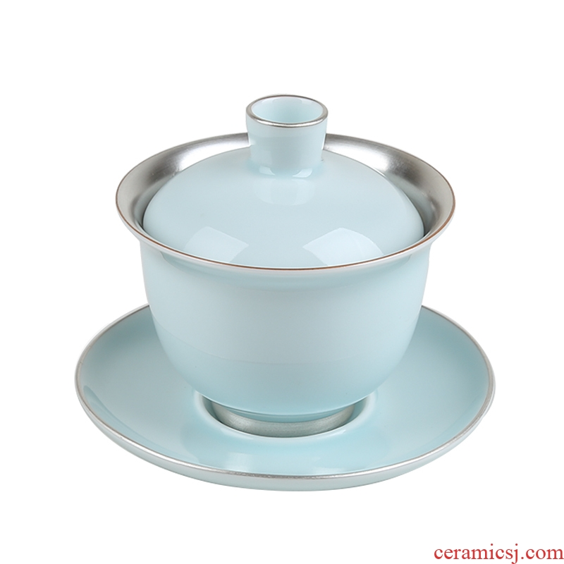 Jingdezhen celadon tea set silver tureen sterling silver 999 quality goods from three new one bowl tureen large cups