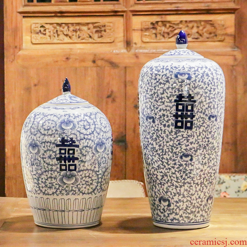 Jingdezhen blue and white idea gourd happy character antique hand - made tank storage tank furnishing articles of Chinese style classical decoration porcelain arts and crafts