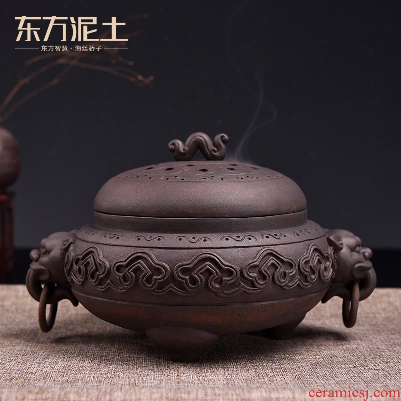 Oriental antique incense buner earth ceramic incense coil aroma stove teahouse study bedroom adornment furnishing articles/xiangyun incense buner