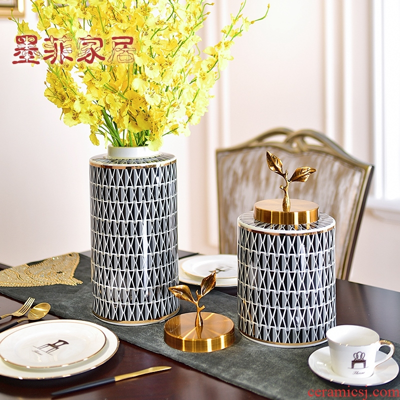 American light key-2 luxury furnishing articles of jingdezhen ceramic vase porch ark, TV ark, example room sitting room adornment ornament