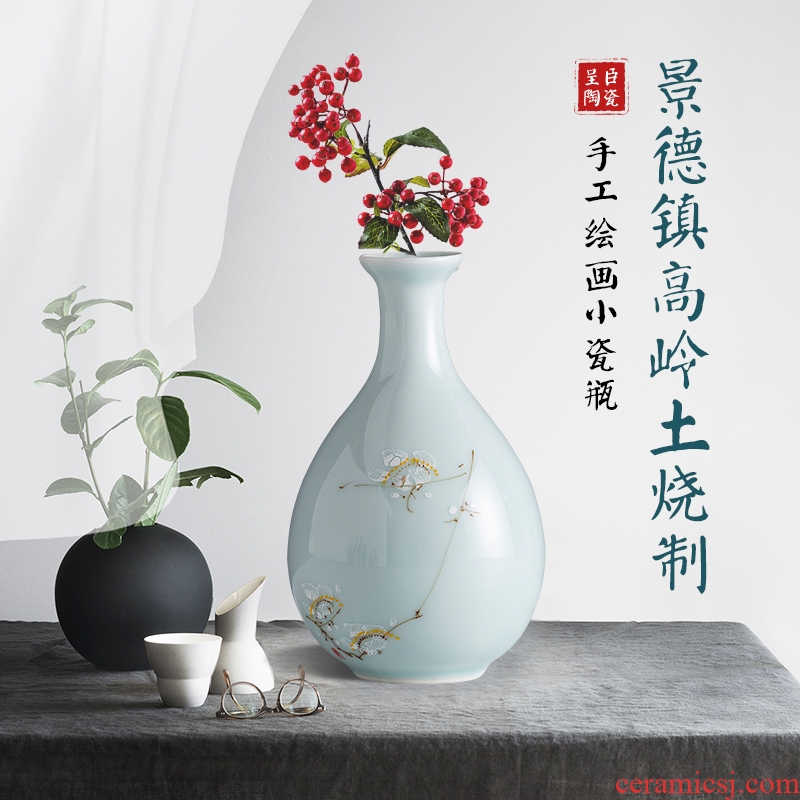 Jingdezhen contracted the new Chinese style is I ceramic floret bottle furnishing articles porch office desk table flower decoration