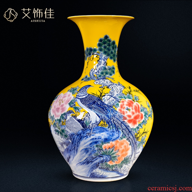 Jingdezhen ceramic yellow notes tong prosperous ground vase large sitting room porch TV ark, crafts are arranging flowers