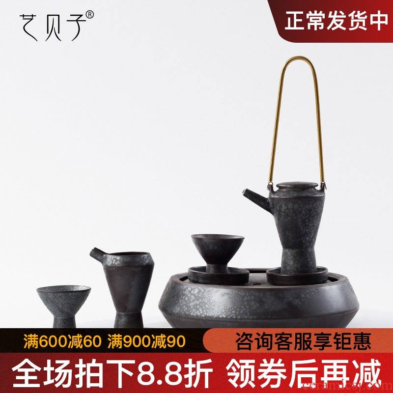 New Chinese style is I example room teahouse furnishing articles, black soft adornment sitting room tea table decoration ceramic tea set the teapot