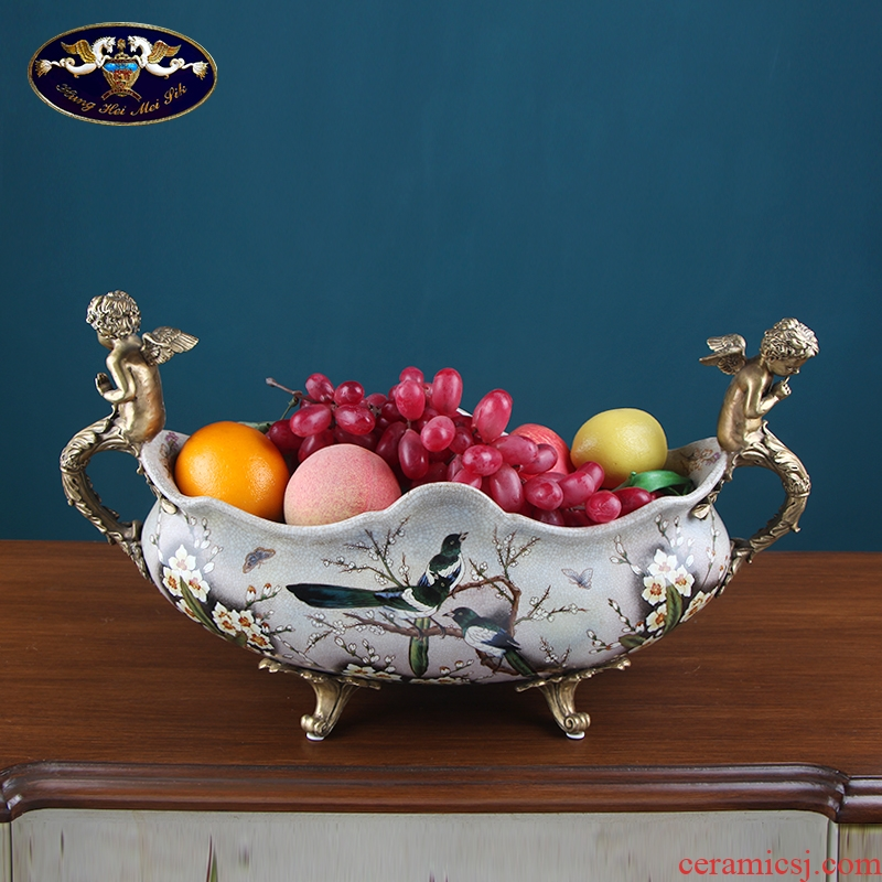European ceramic creative household soft adornment American retro villa fruit bowl in the sitting room porch place fruit tray
