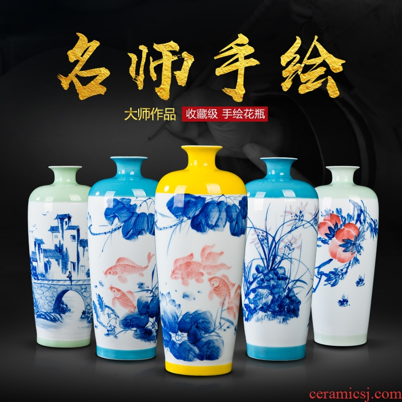 Jingdezhen ceramics hand - made vases, small pure and fresh and vase vase sitting room porch rich ancient frame decoration furnishing articles