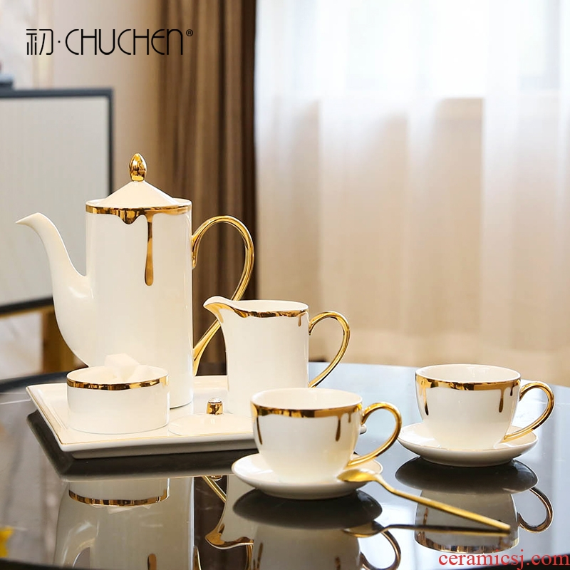 European American household example room ceramic coffee set English afternoon tea tray household soft adornment