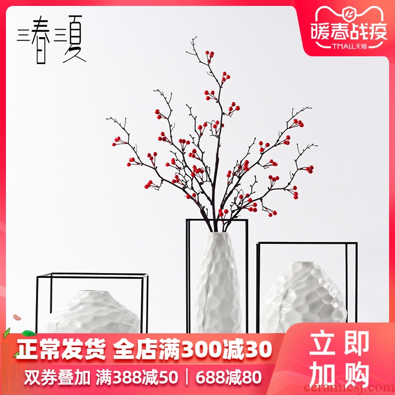 Postmodern new Chinese style is irregular ceramic vase geometry furnishing articles combination between example decorate the sitting room art flower arranging