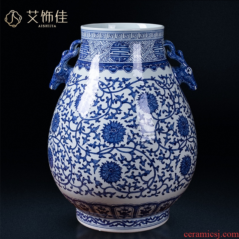 Jingdezhen ceramics ears deer put lotus flower drum a blessing vase household flower arranging the sitting room porch Chinese style classical furnishing articles