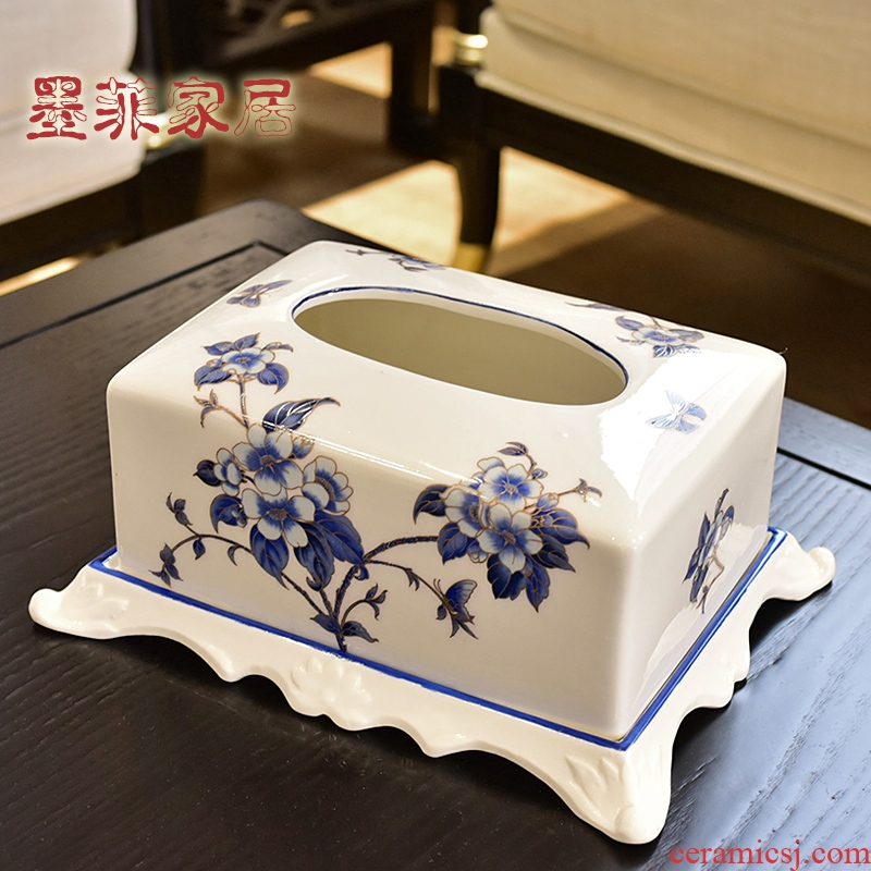 New Chinese style ceramic tissue box household creative living room table smoke box napkin paper carton box of decorative furnishing articles