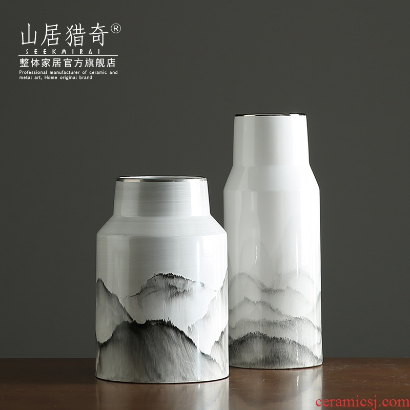 Creative ceramic hand - made ink landscape vase zen large flower arrangement sitting room adornment of Chinese style household furnishing articles