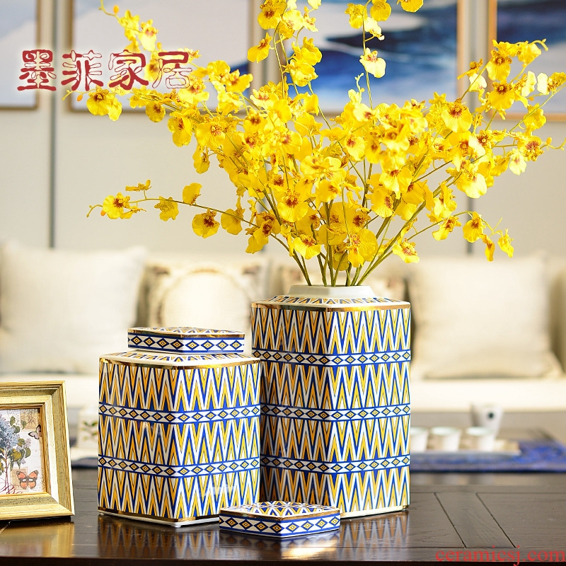 New Chinese style American - style light and decoration art ceramic vase furnishing articles, the sitting room porch TV ark, home decoration wine arranging flowers
