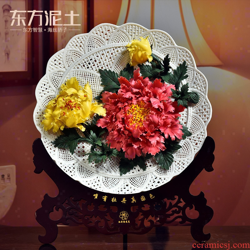 Oriental soil creative ceramic flower hang dish furnishing articles of Chinese style living room rich ancient frame desktop decoration plate handicraft