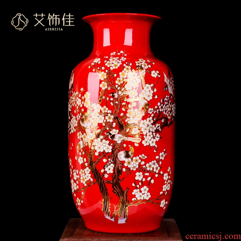 Jingdezhen ceramic Chinese red beaming living room large vase of new Chinese style household furnishing articles with a gift