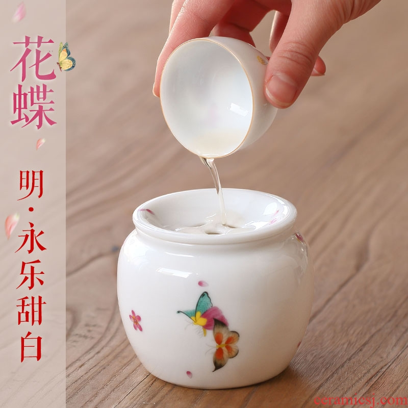 White porcelain Japanese zen small ceramic tea cup home washing water, after the wash to kung fu tea set with cover decal built water restoring ancient ways