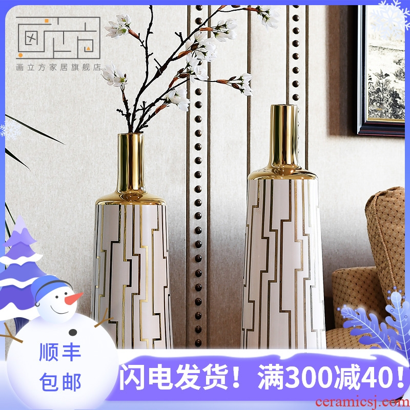 Painting cubic European modern creative ipads porcelain vase furnishing articles sitting room light dry flower show key-2 luxury home decorations