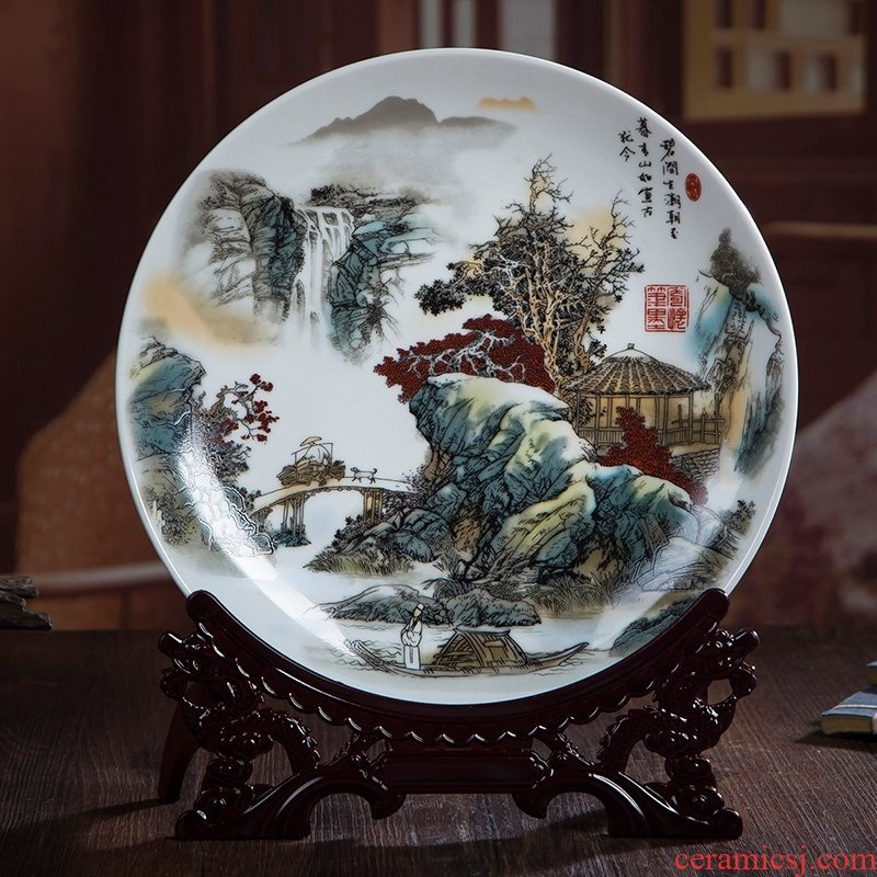 Jingdezhen ceramics decorated landscapes hang dish plate wall sitting room of the new Chinese style household adornment furnishing articles