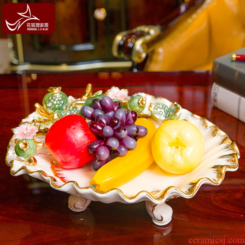 Europe type restoring ancient ways ceramic fruit bowl sitting room, dining - room creative household adornment large embossment pomegranate creative furnishing articles