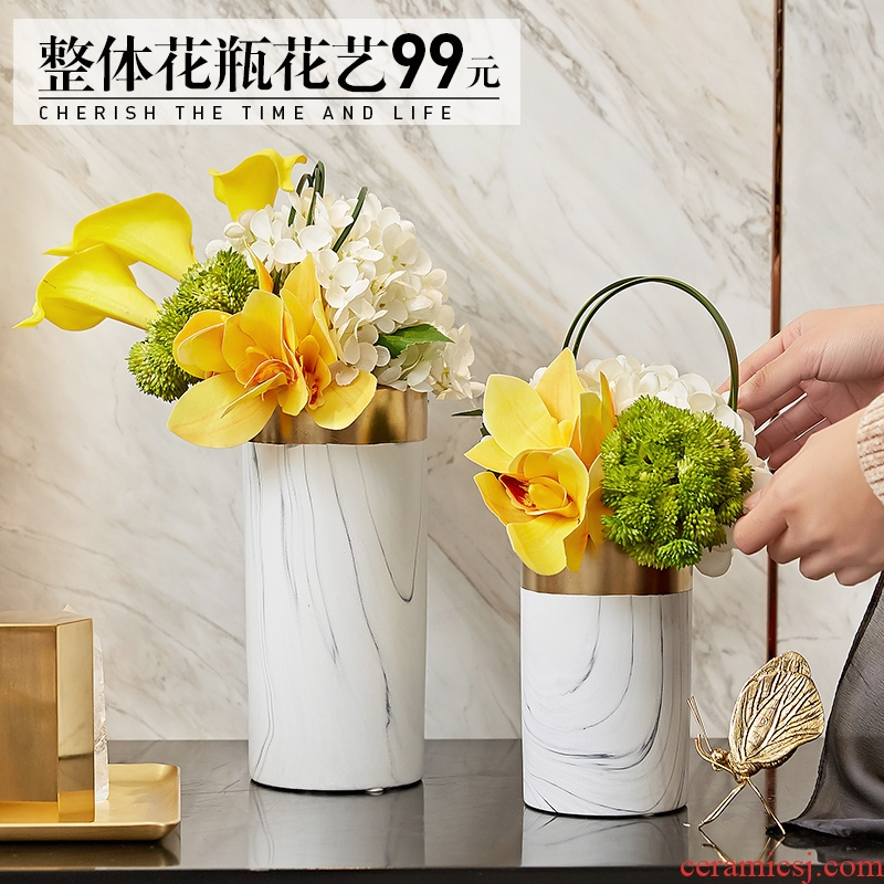 European marble vase flower arranging modern Nordic sitting room TV cabinet ceramic table furnishing articles home decoration