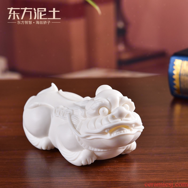 Oriental clay ceramic the mythical wild animal furnishing articles dehua white porcelain its art office decoration