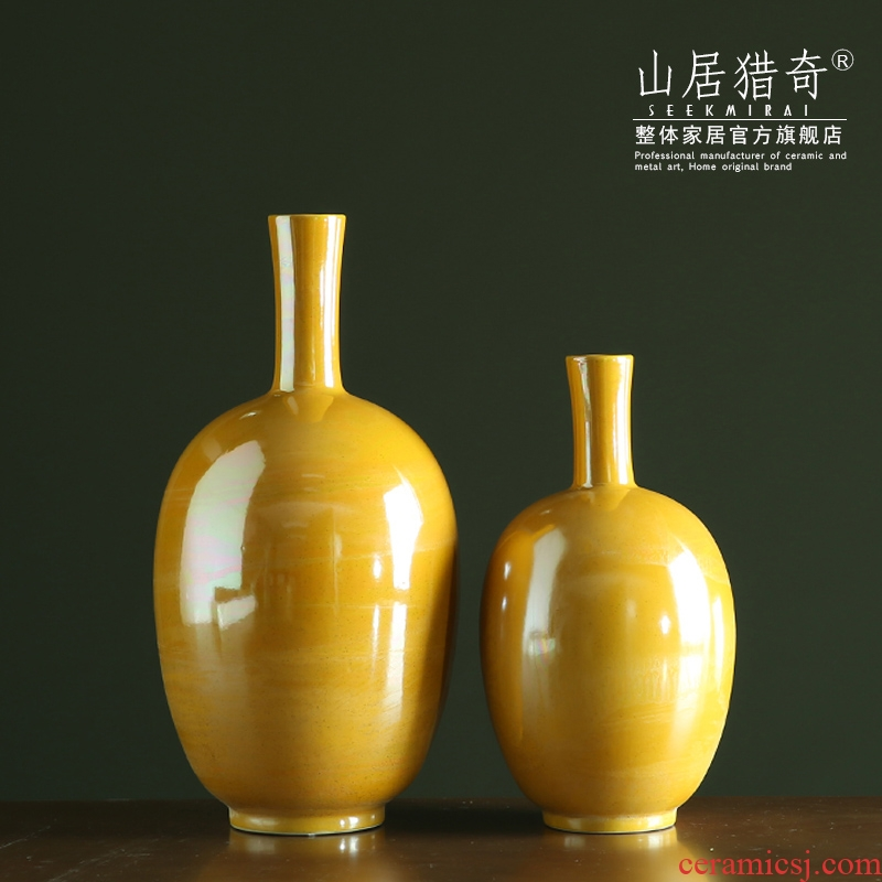 Fine expressions using golden ceramic vase Nordic home sitting room soft assembly act the role of dry flower art flower arranging device example room