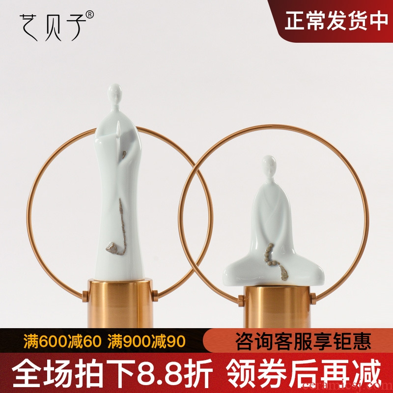 The New Chinese zen modern ceramic copper jade porcelain soft furnishing articles creative hotel floor sample room window decorations
