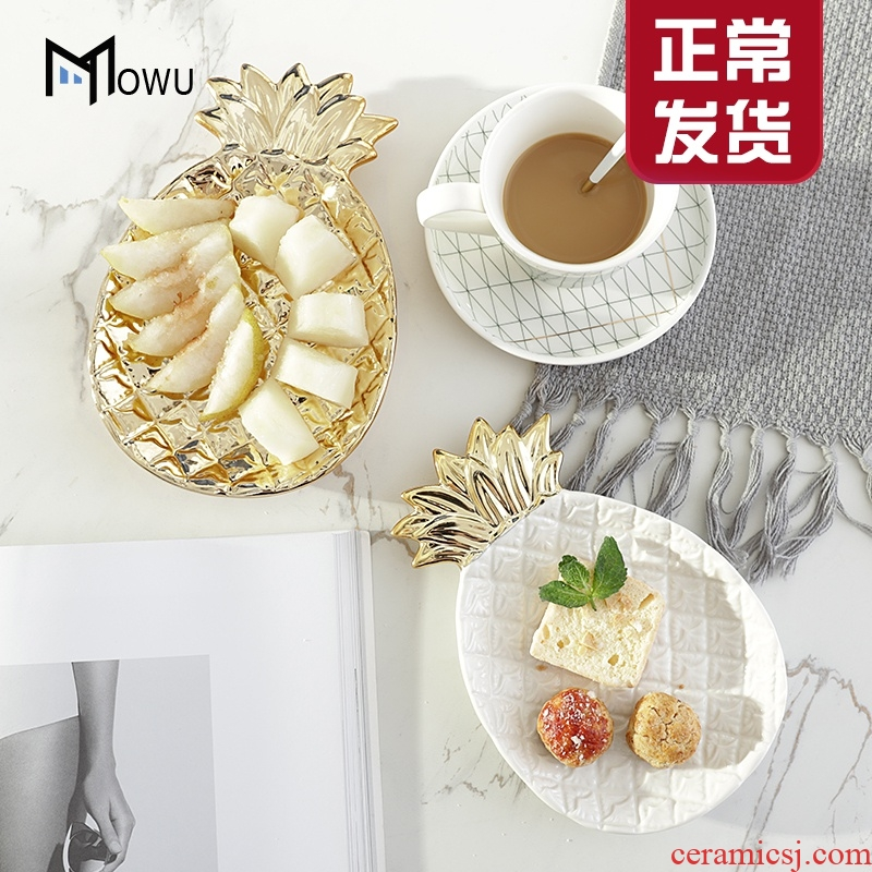 The house ins light pineapple key-2 luxury gold ceramic jewelry disc receive creative snack table plate home furnishing articles