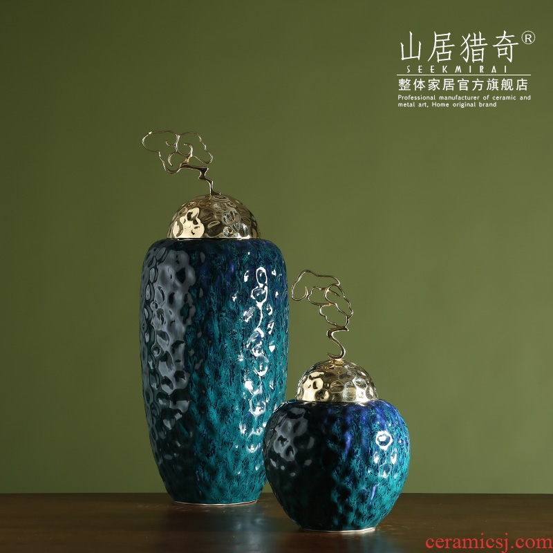 Zen of new Chinese style household soft adornment example room sitting room porch decorate as the metal ceramic lucky cloud cover