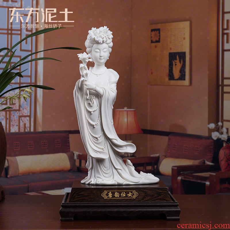The east mud dehua white porcelain ceramic its art furnishing articles Chinese style living room decoration/yun tang, lady