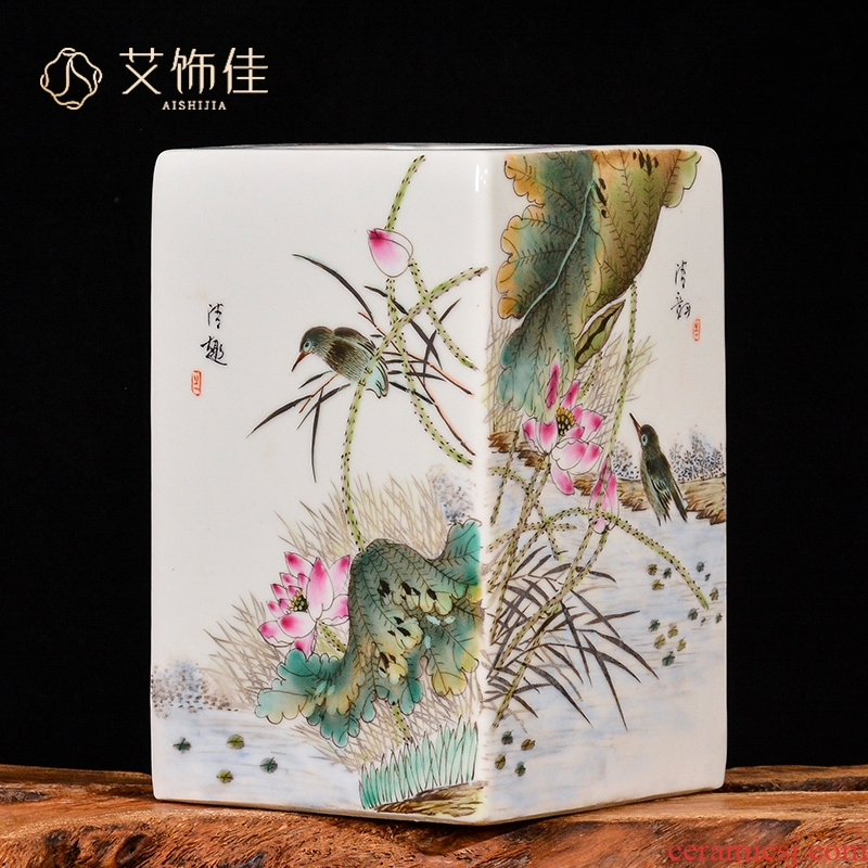 Jingdezhen ceramics archaize home sitting room rich ancient frame TV ark, hand - drawn square bottle handicraft decorative furnishing articles