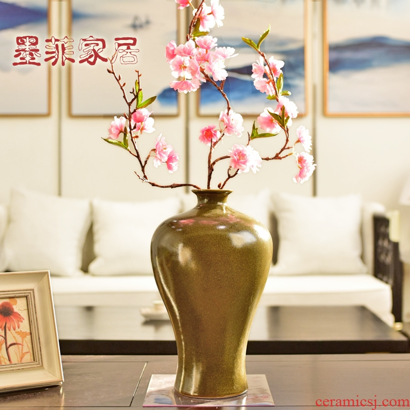 New Chinese style tea ceramic vase is placed at the end of the creative TV ark, restoring ancient ways is the sitting room porch decoration home decoration