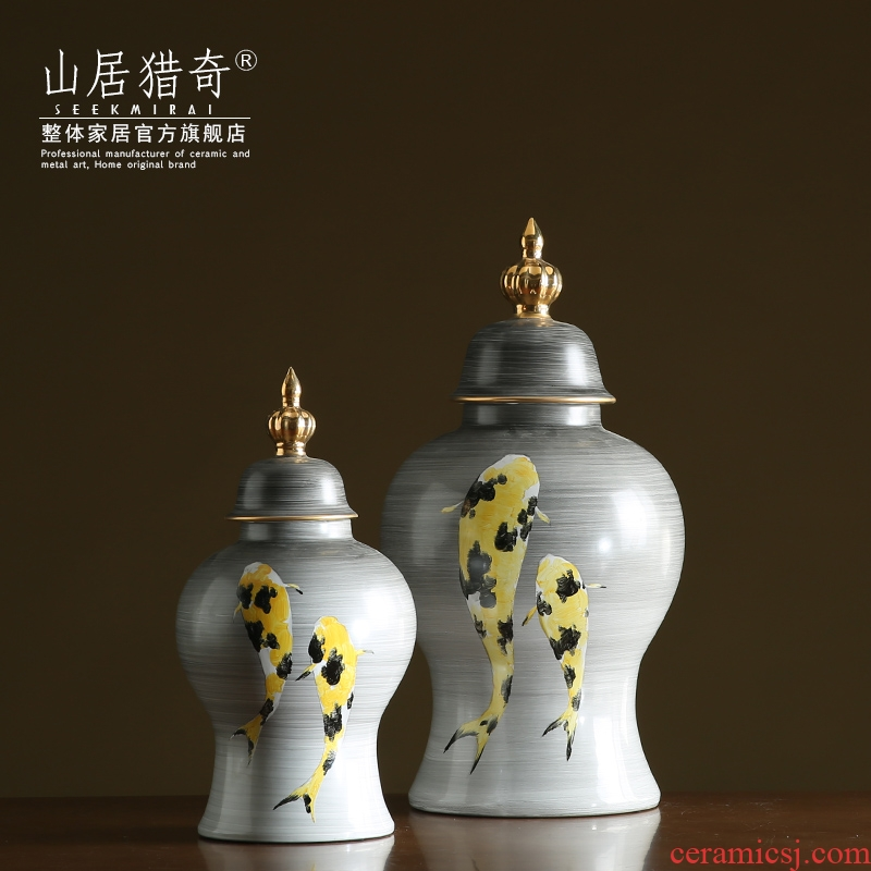 The sitting room porch ark, furnishing articles between example Chinese style household adornment general hand - made ceramic jar of large storage tank