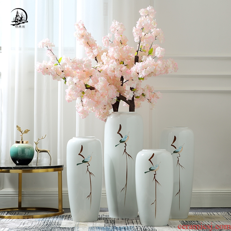 Jingdezhen new Chinese vase landing large I and contracted sitting room TV ark, flower arranging ceramic household act the role ofing is tasted