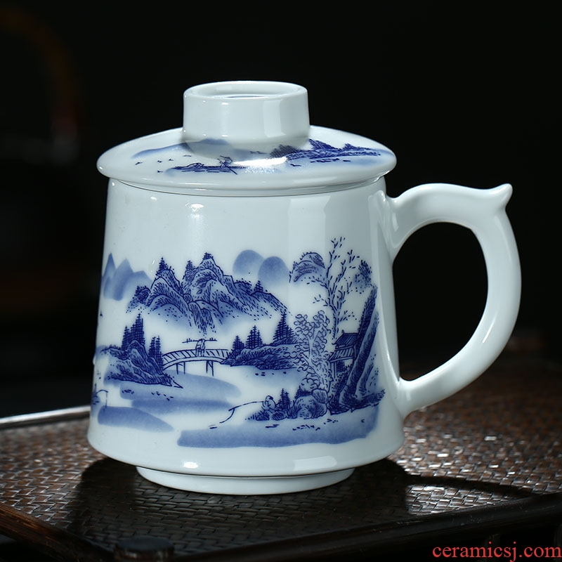 Jingdezhen ceramic filter with cover tea cup home office glass keller cup of blue and white porcelain cups