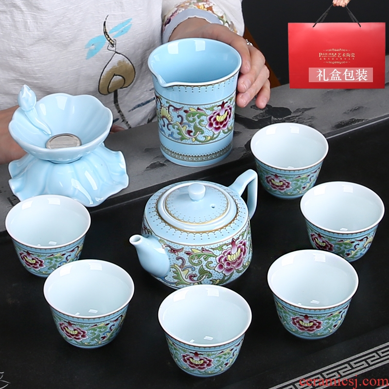Hand the see wire enamel kung fu tea set gift tureen masters cup of a complete set of ceramic home office